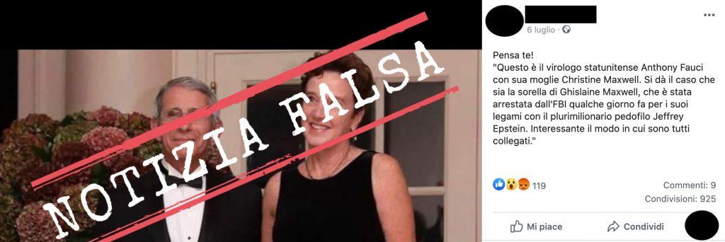 No, Anthony Fauci non è sposato con la sorella di Ghislaine