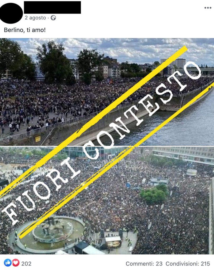 Queste due foto di una folla non mostrano la manifestazione a Berlino contro le restrizioni per la pandemia