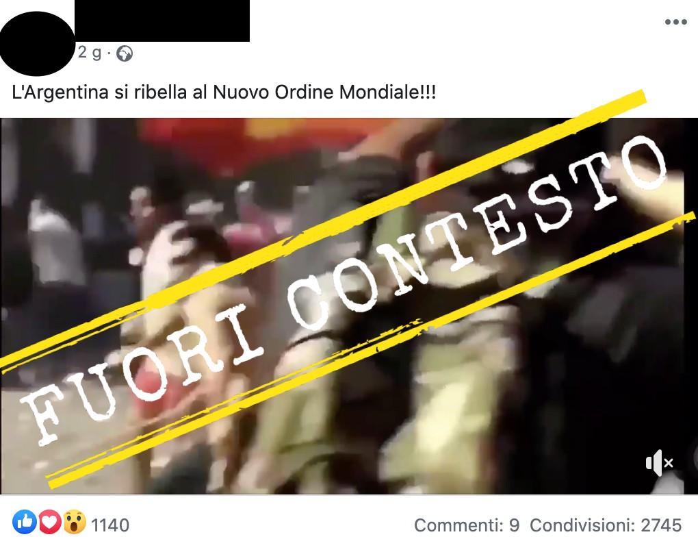 Questo video non mostra l'Argentina che «si ribella al Nuovo Ordine Mondiale»