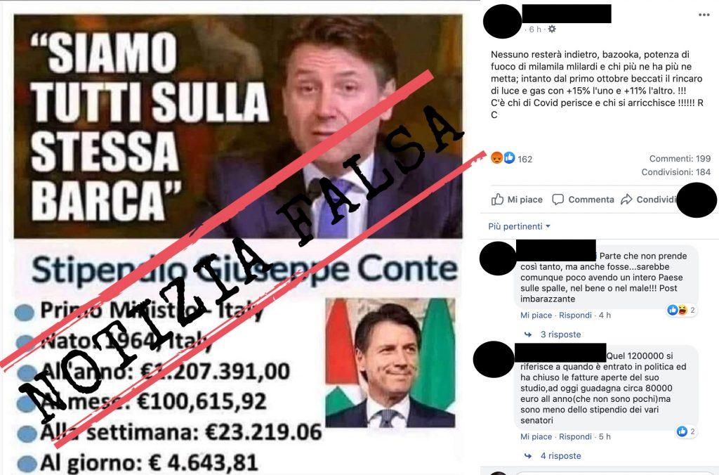 No, Giuseppe Conte non ha uno stipendio annuo lordo superiore al 1 milione di euro