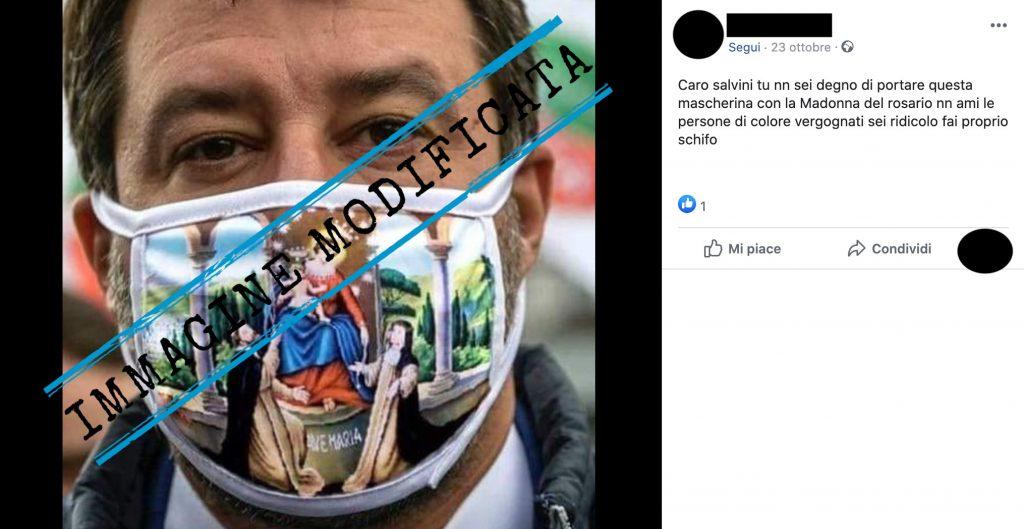 La mascherina con stampata un'immagine della Madonna di Pompei non è stata indossata da Matteo Salvini